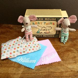 Baby Twins Match Box Mice - soft toys & dolls