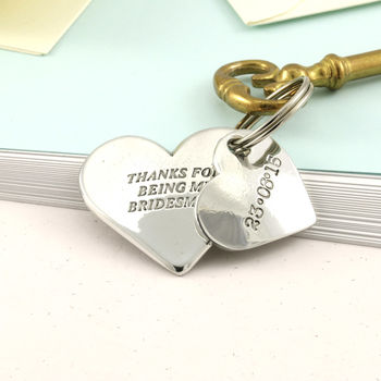 Bridesmaid Gift Wedding Double Heart Key Ring