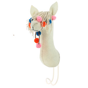 Cream Llama Felt Wall Hook - wall hangings for children