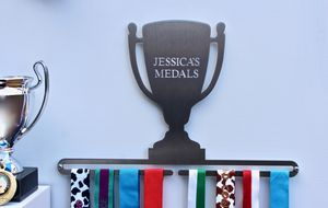 Personalised Trophy Medal Display Hanger - bedroom