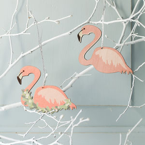 Christmas Flamingo Decoration - tree decorations