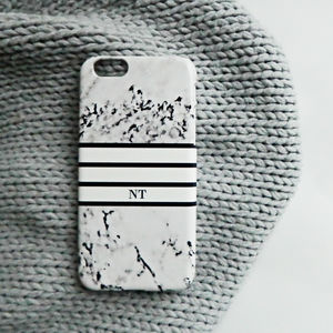 Personalised Monogram Marble Print Stripe Phone Case - womens