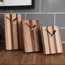 Striped Wood Clock For Wall Or Free Standing