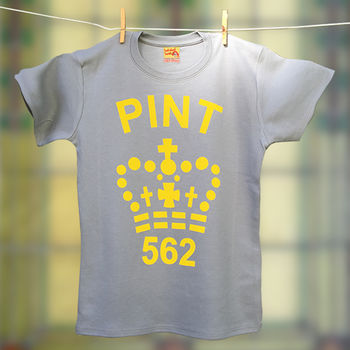 Ladies Pint T Shirt In Fluorescent Yellow And Grey
