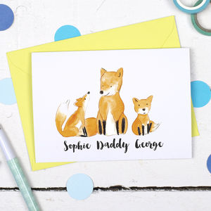 Personalised Father's Day Family Fox Card - father's day cards