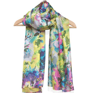 Large 'Pink Lime' Pure Silk Scarf - scarves