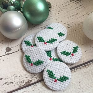 Cross Stitch Christmas Holly Sprig Pin Badge