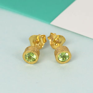 Gold And Peridot Birthstone Stud Earrings - earrings