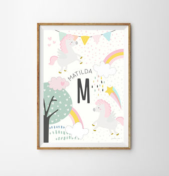 Magical Personalised Unicorn Baby Nursery Print