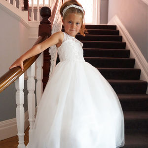 Melody ~ Off White Flower Girl | Christening Dress