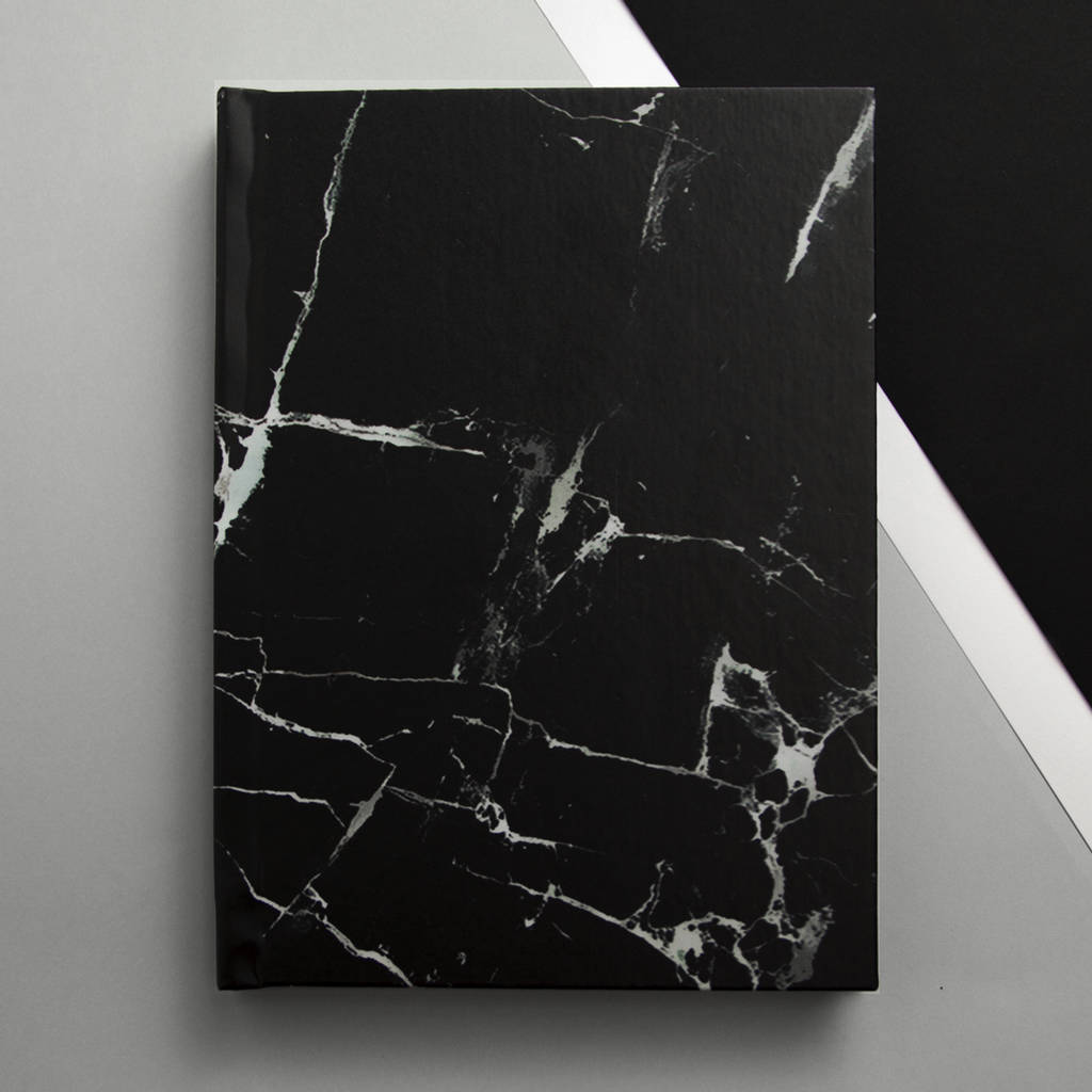 black marble a5 notebook lined plain or graph paper by harper