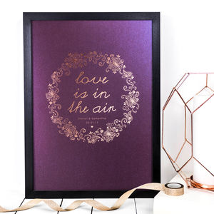 Personalised Wedding Gift; Love Is In The Air Print - posters & prints