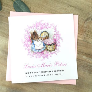 Beatrix Potter New Baby Or Christening Card Pink