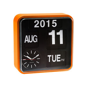 Orange Wall Flip Clock - bedroom
