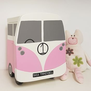 Campervan Keepsake Box - Grace White and Pretty Pink