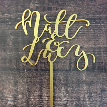 Personalised Modern Calligraphy Names Cake Topper