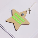 Christening, Baptism, Dedication Wooden Boy Star Card