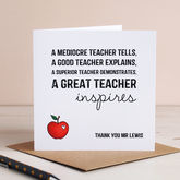 Personalised Inspiring Teacher Card - cards