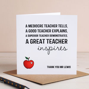 Personalised Inspiring Teacher Card - gifts for teachers