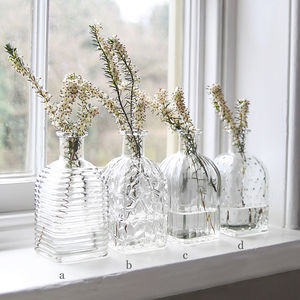Pressed Glass Square Bottle Vase Set