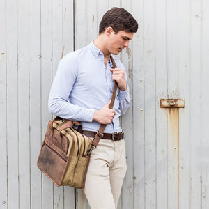 Leather And Canvas Laptop Briefcase Bag
