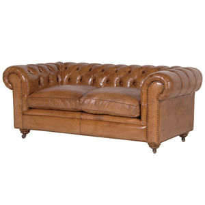 Italian Leather Two Seater Buttoned Chesterfield Sofa - sofas