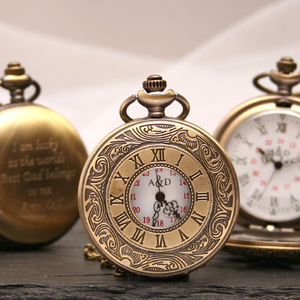 Personalised Bronze Pocket Watch Intricate Design - watches