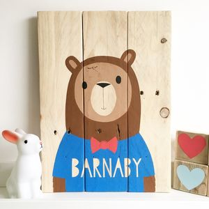 Personalised 'Oh Hello Bear' On Reclaimed Wood - baby's room