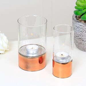 Set Of Two Copper Band Tea Light Holders