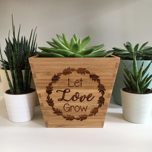'Let Love Grow' Bamboo Plant Pot - flowers, plants & vases
