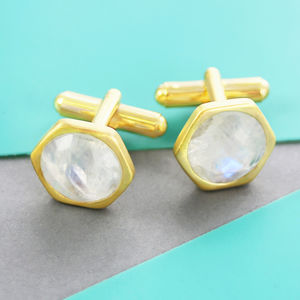 Gold Moonstone Hexagonal Geometric Cufflinks - cufflinks