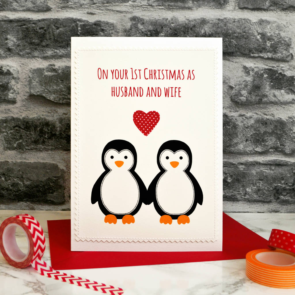 penguins first married christmas card for couples by jenny arnott