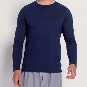 Men's Long Sleeved T Shirt In Navy - men's fashion