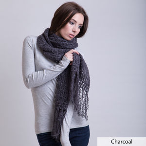Scarf With Natural Tassels