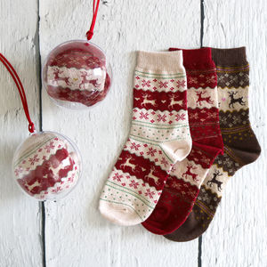 Reindeer Fairisle Wool Socks In A Bauble - tree decorations