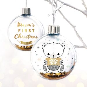 Personalised Baby's First Christmas Teddy Bear Bauble - christmas decorations