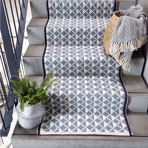 Geometric Grey Cotton Runner 70 X 200 Cm