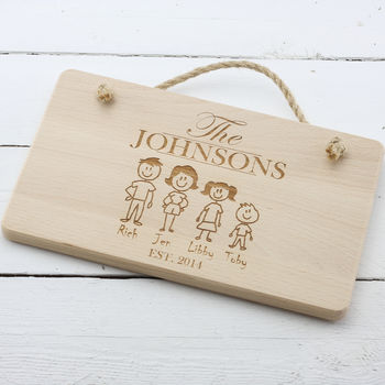 Family Member Personalised Engraved Hanging Plaque Sign