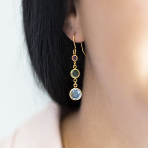 Three Generations Birthstone Earrings