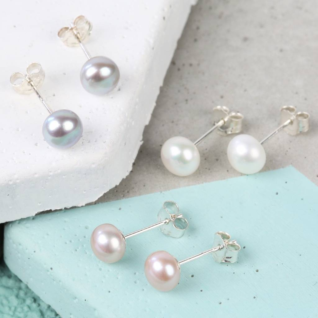 Cornish Small Cup Sterling Silver Handmade Pearl Stud Earrings