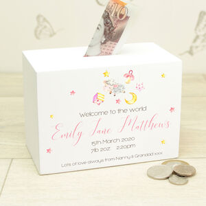 Personalised Welcome To The World Baby Money Box