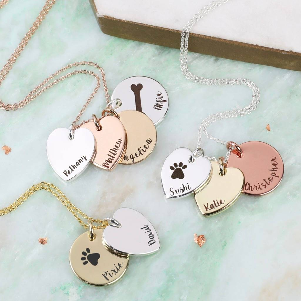 Personalised Heart And Disc Charm 'Family' Necklace