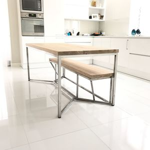 Solid Oak Stainless Steel Dining Table - furniture