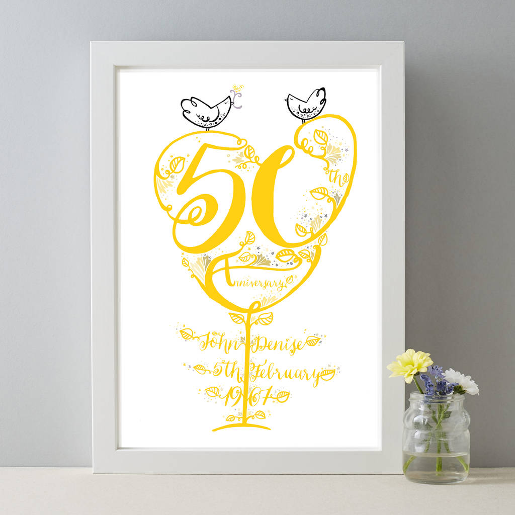 Personalised 50th Wedding Anniversary Gifts: Golden Wedding Personalised 50th Anniversary Gift Print By