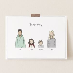 Personalised Hand Drawn Family Illustration