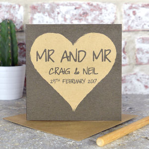 Personalised Same Sex Wedding Card For Gay Couple - wedding cards