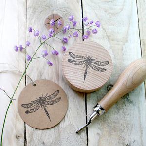 Botanical Dragonfly Hand Carved Rubber Stamp - ribbon & wrap