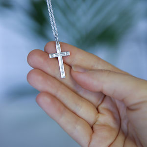 Embossed Silver Cross Necklace