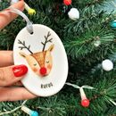Rudolph Ceramic Christmas Decoration With Pom Pom Nose