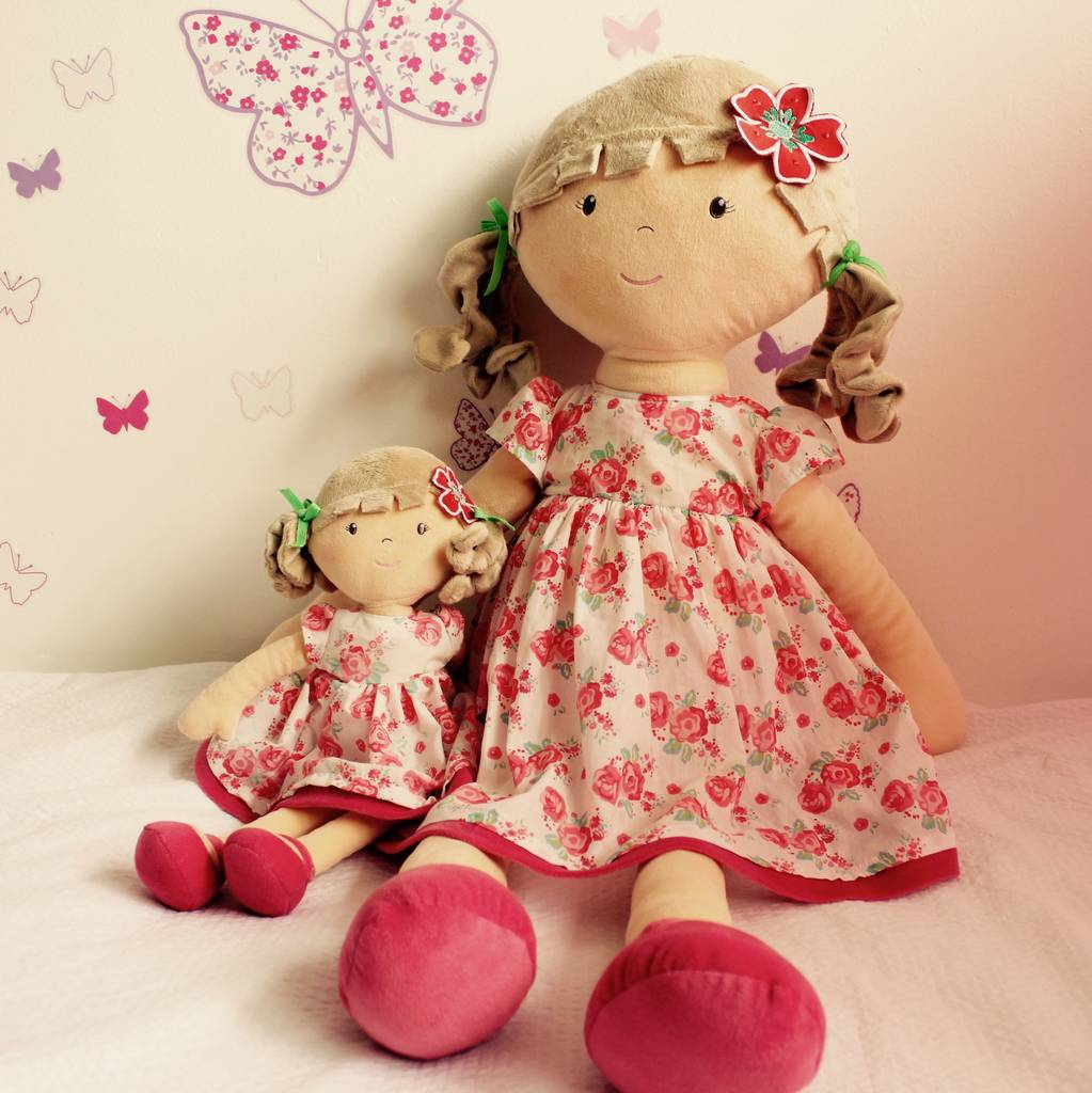 Large Katy And Pink Flower Girl Rag Doll By Tribe Of Five